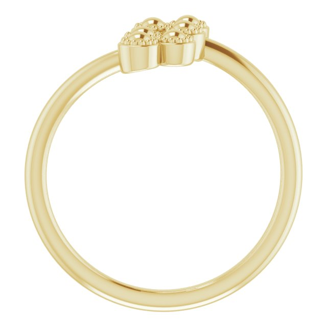 14K Yellow Beaded Negative Space Ring