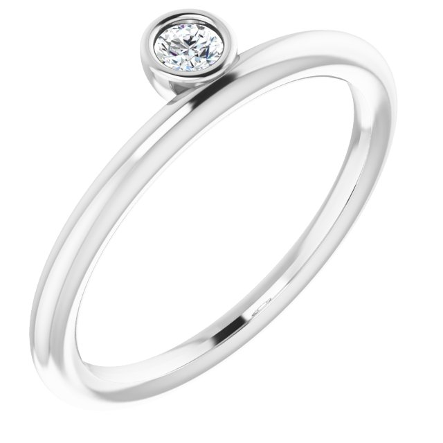Sterling Silver 1/10 CT Diamond Asymmetrical Stackable Ring