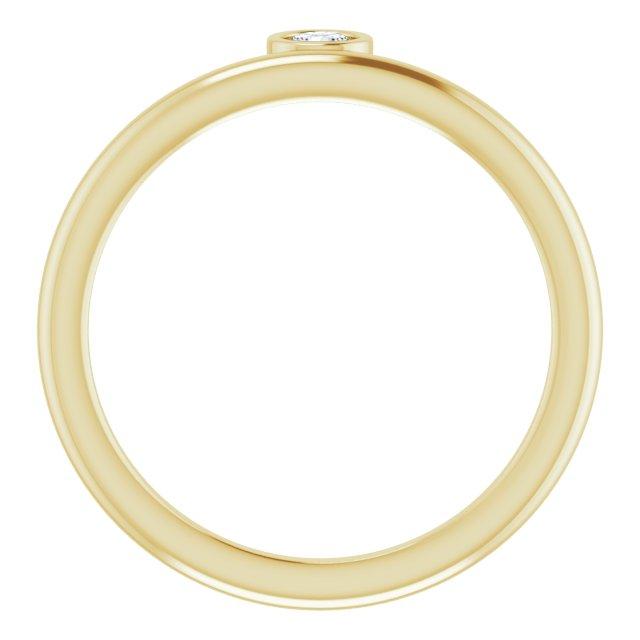 14K Yellow 1/10 CT Diamond Asymmetrical Stackable Ring