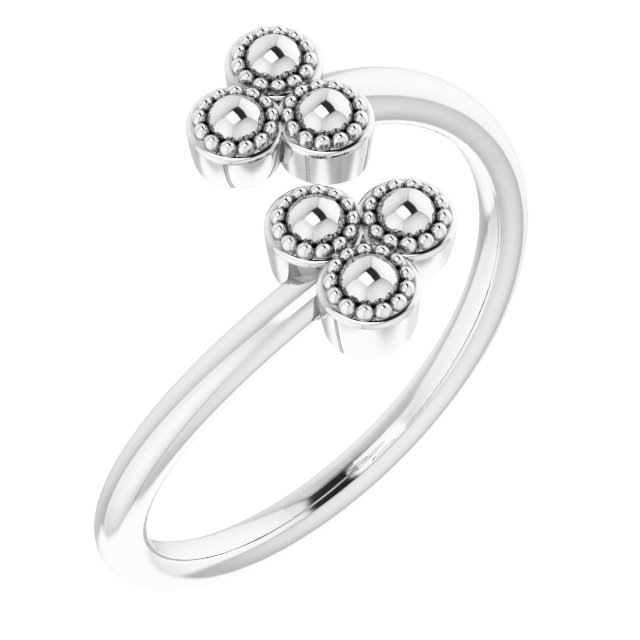 Sterling Silver Beaded Negative Space Ring