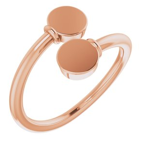 14K Rose Engravable Bypass Ring