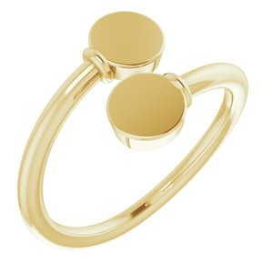 14K Yellow Engravable Bypass Ring