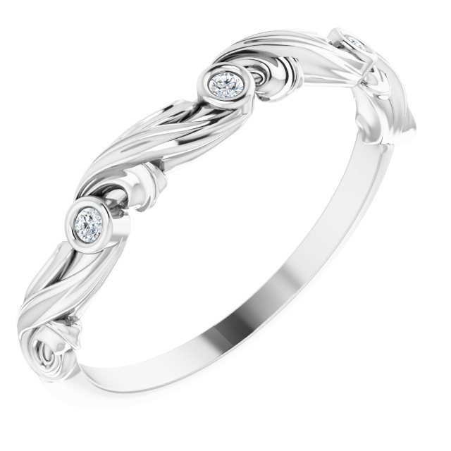 14K White .03 CTW Diamond Anniversary Band