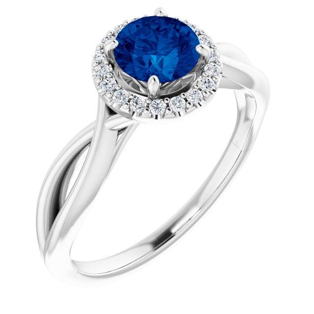 14K White Lab-Grown Lab-Grown Blue Sapphire & 1/10 CTW Diamond Ring