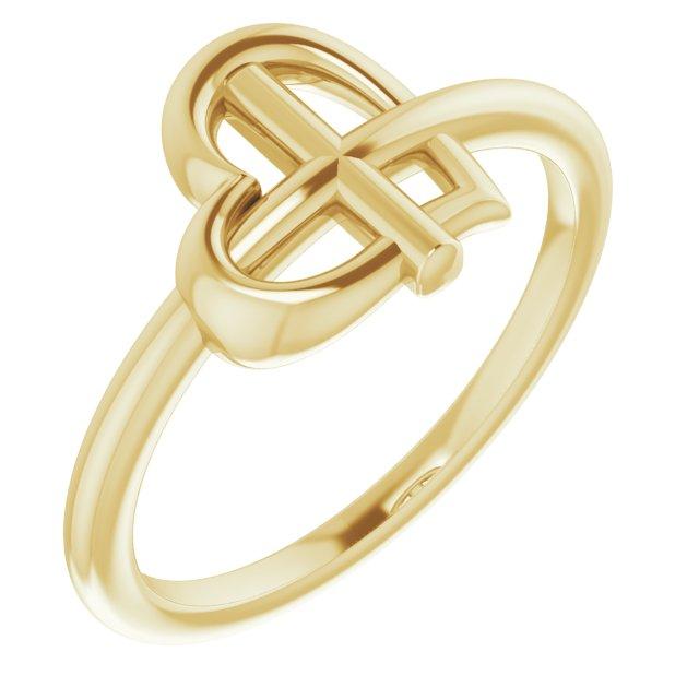 14K Yellow Heart Cross Ring