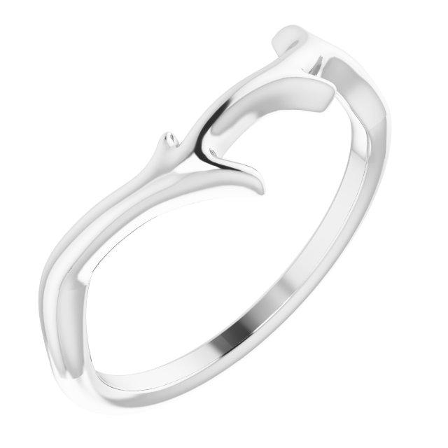 14K White Branch Ring