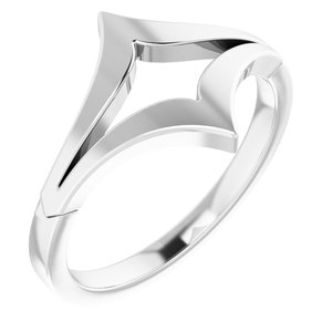 "14K White Negative Space Double ""V"" Ring"