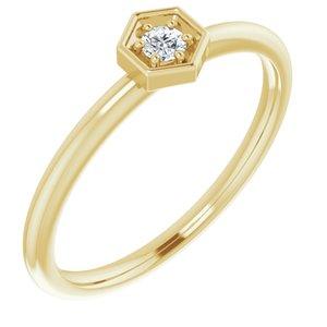 14K Yellow .06 CTW Diamond Hexagon Stackable Ring
