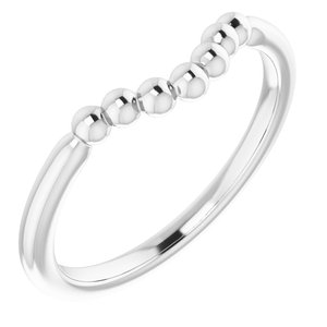 14K White Beaded Contour Stackable Ring