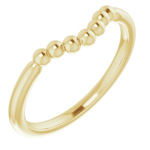 14K Yellow Beaded Contour Stackable Ring