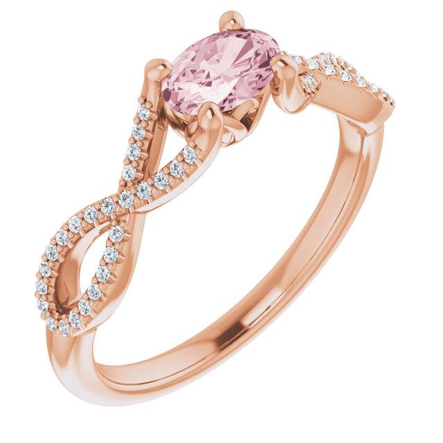 14K Rose Morganite & 1/8 CTW Diamond Ring