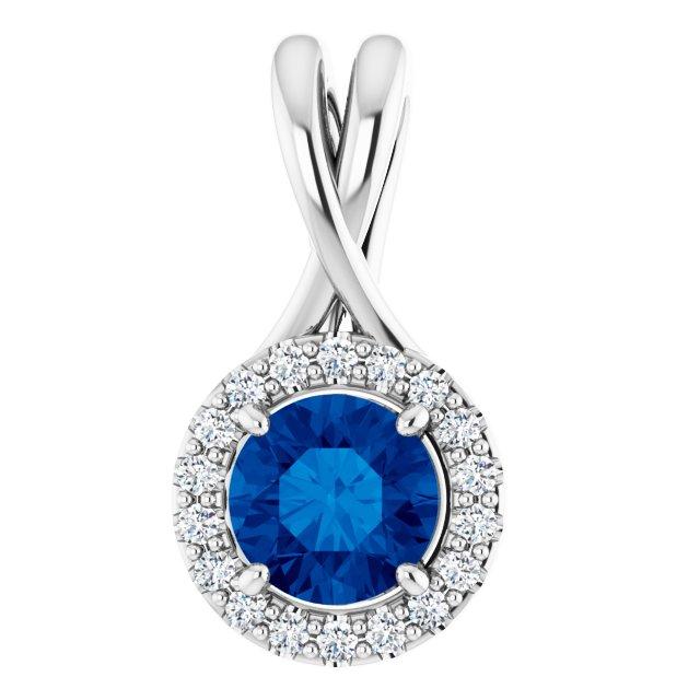 14K White Sapphire & 1/10 CTW Diamond Pendant