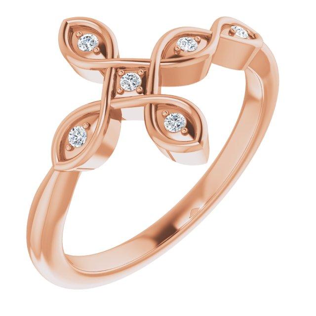 14K Rose .05 CTW Diamond Sideways Cross Ring
