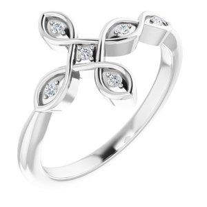 14K White .05 CTW Diamond Sideways Cross Ring