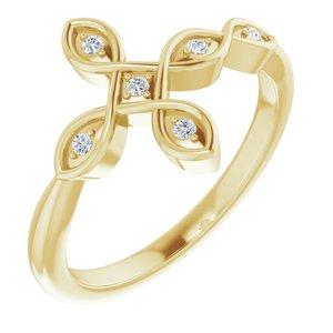 14K Yellow .05 CTW Diamond Sideways Cross Ring