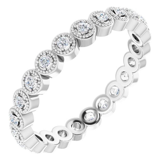 14K White 1/4 CTW Diamond Eternity Band Size 6