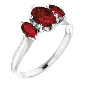 14K White 7x5 mm Oval Garnet Ring