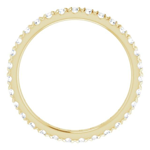 14K Yellow 1/2 CTW French Set Diamond Eternity Band Size 7.5