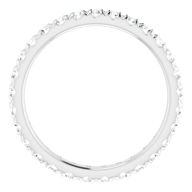14K White 1/2 CTW French Set Diamond Eternity Band Size 7