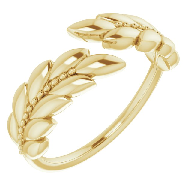14K Yellow Leaf Negative Space Ring
