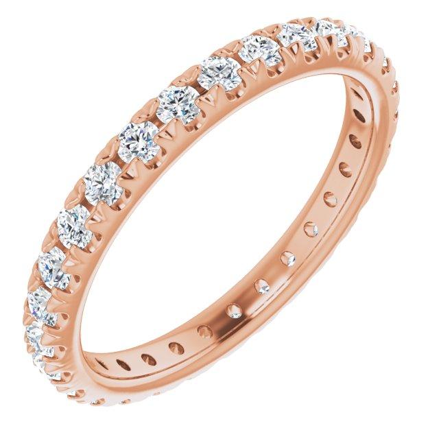 14K Rose 7/8 CTW French Set Diamond Eternity Band Size 7