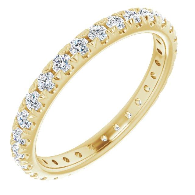 14K Yellow 7/8 CTW French Set Diamond Eternity Band Size 7