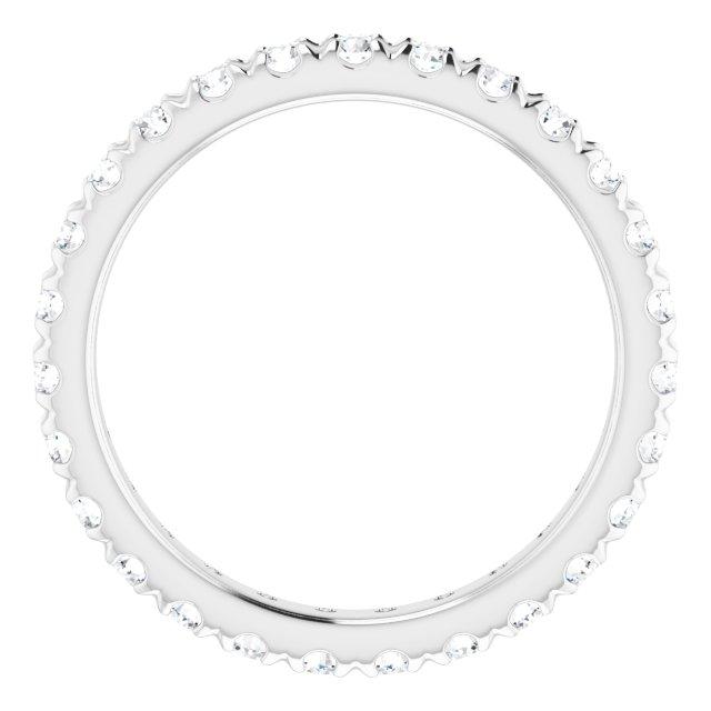 14K White 3/4 CTW French Set Diamond Eternity Band Size 4.5
