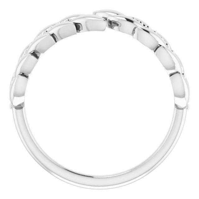 14K White Leaf Negative Space Ring