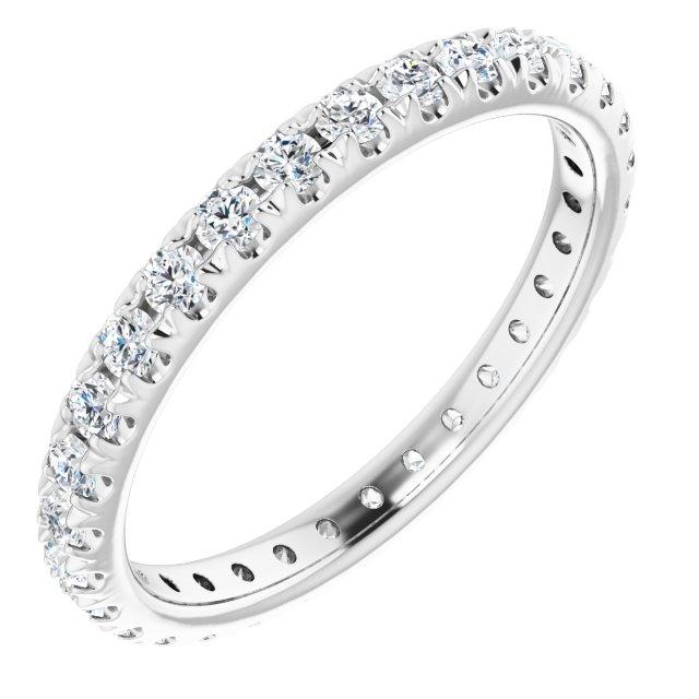 14K White 9/10 CTW French Set Diamond Eternity Band Size 7.5