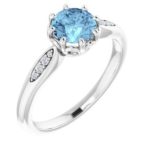 14K White Aquamarine & .04 CTW Diamond Ring