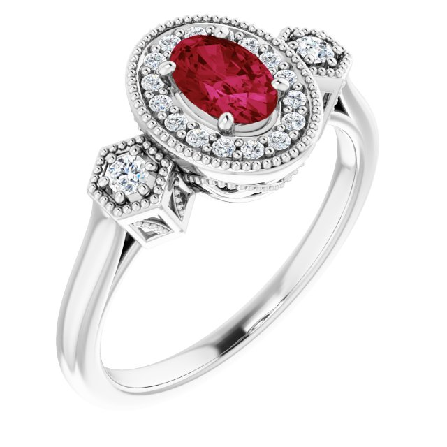 14K White Chatham® Created Ruby & 1/6 CTW Diamond Ring