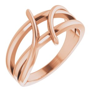 14K Rose 12.4 mm Freeform Bypass Ring
