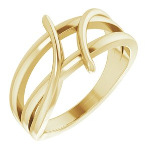 14K Yellow 12.4 mm Freeform Bypass Ring