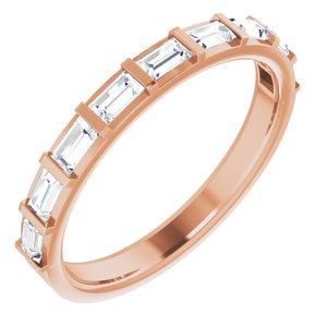 14K Rose 5/8 CTW Diamond Straight Baguette Anniversary Band