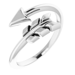 14K White Arrow Ring