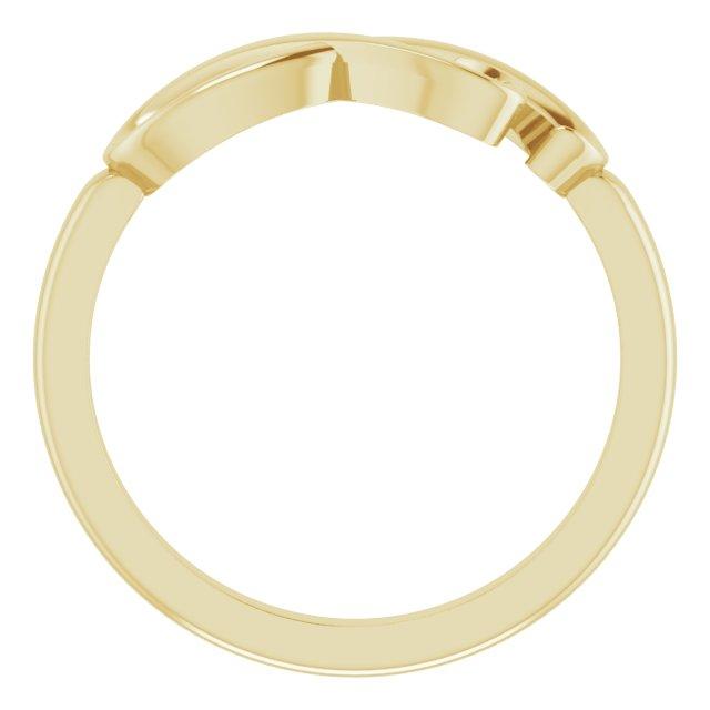 14K Yellow Infinity-Inspired Heart Ring