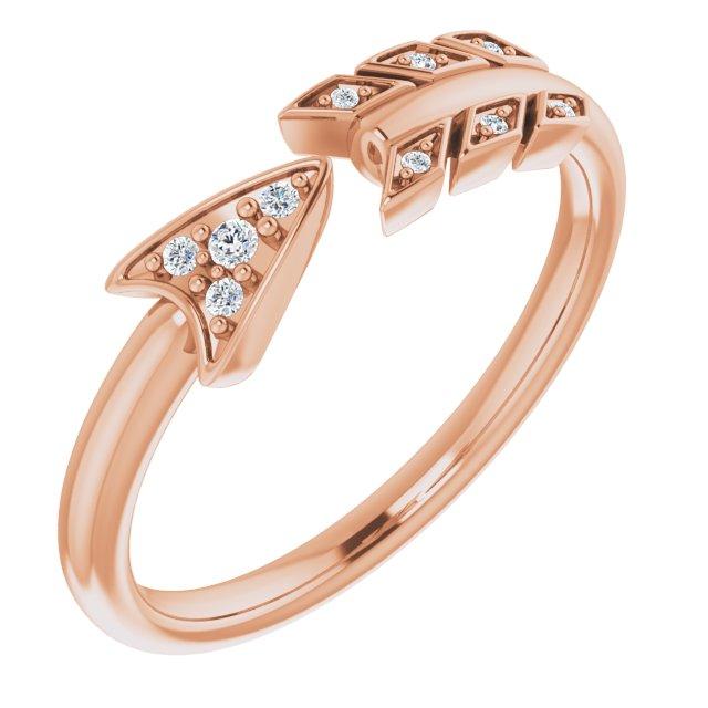 14K Rose .04 CTW Diamond Arrow Ring
