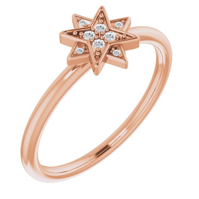 14K Rose .04 CTW Diamond Star Ring