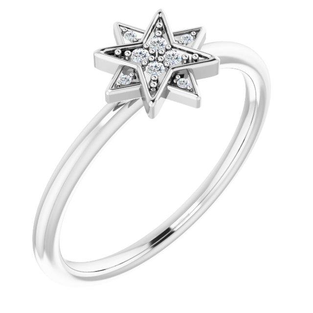 14K White .04 CTW Diamond Star Ring