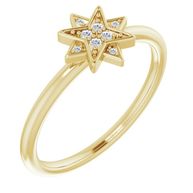14K Yellow .04 CTW Diamond Star Ring