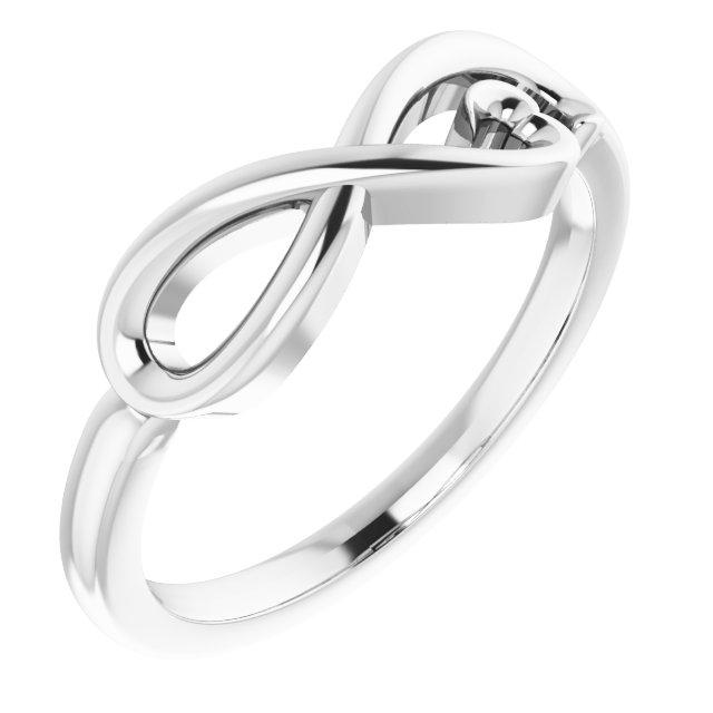 14K White Infinity-Inspired Heart Ring