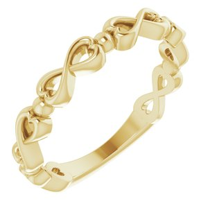 14K Yellow Infinity-Inspired Heart Ring
