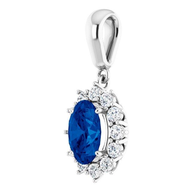 14K White Lab-Grown Blue Sapphire & 1/3 CTW Diamond 18