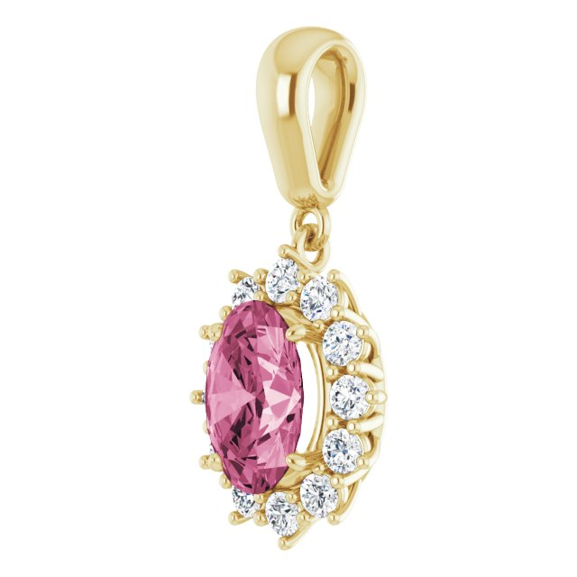 14K Yellow Pink Tourmaline & 1/3 CTW Diamond Pendant