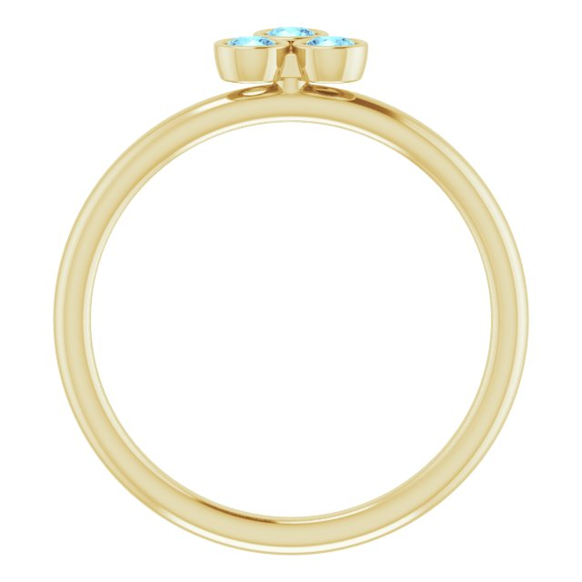 14K Yellow Aquamarine Stackable Ring