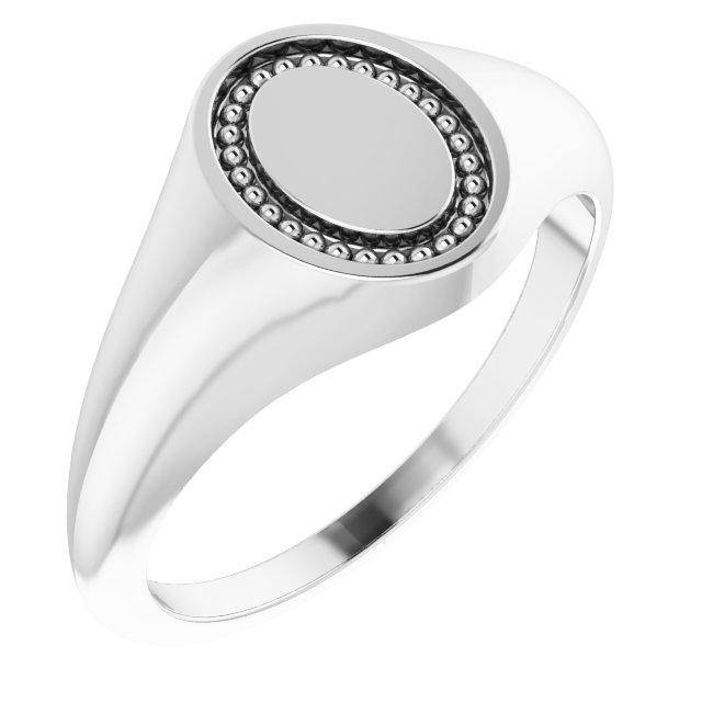 14K White 10x8 mm Oval Beaded Signet Ring