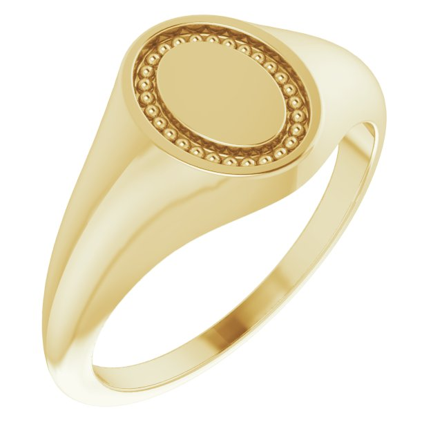 14K Yellow 10x8 mm Oval Beaded Signet Ring