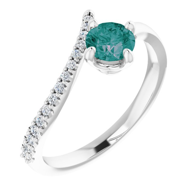 14K White Chatham® Created Alexandrite & 1/10 CTW Diamond Bypass Ring