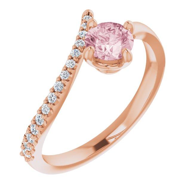 14K Rose Morganite & 1/10 CTW Diamond Bypass Ring