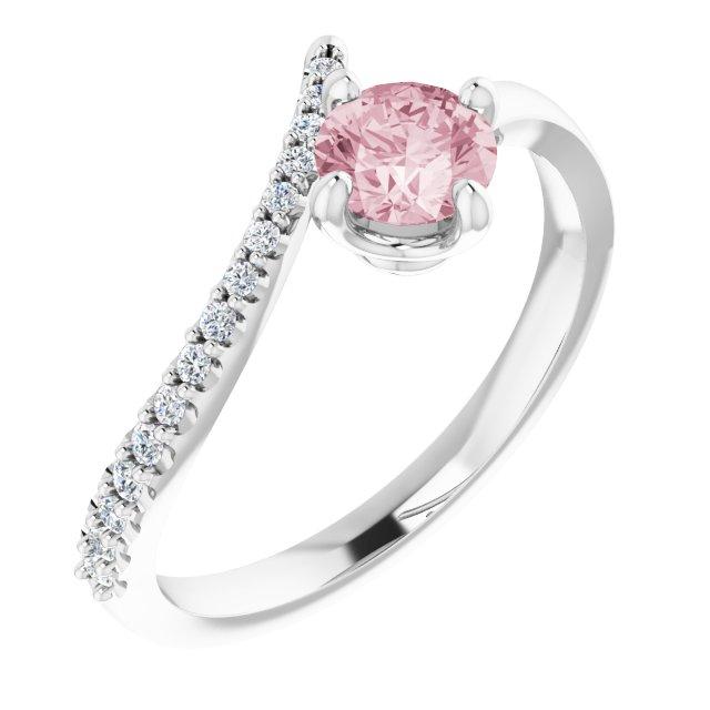 14K White Morganite & 1/10 CTW Diamond Bypass Ring